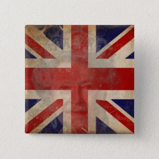 Dirty U.K. Flag Button with Queen Elizabeth II