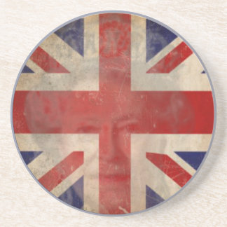 Dirty U.K. Flag Coaster with Queen Elizabeth II