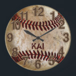 """Dirty Unique PERSONALIZED Baseball Clocks<br><div class=""""desc"""">Dirty Unique PERSONALIZED Baseball Clocks for boys and men. Type in YOUR TEXT into the text box to your right or Delete it. Call Linda and Rod for HELP or Changes to any of our original and unique baseball gift designs. 239-949-9090. Call Rodney or Designer Linda to place this unique...</div>"""