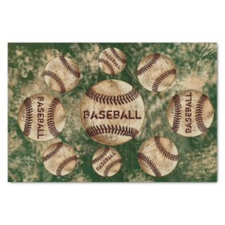 Dirty Vintage Baseball Tissue Paper Your COLOR
