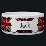 """Dirty Vintage UK Personalized Bowl<br><div class=""""desc"""">Dirty Vintage UK  flag Personalized pet bowl .. dog bowls from Ricaso .. perfect pet products with customizable options .. give your fur friend that unique gift .. add your pets name to this union jack dish</div>"""