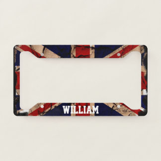 Dirty Vintage United Kingdom UK Flag Personalized License Plate Frame