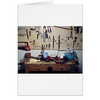 Dirty workbench greeting card