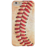 Dirty Worn Vintage Baseball Ball Red Stitching Barely There iPhone 6 Plus Case