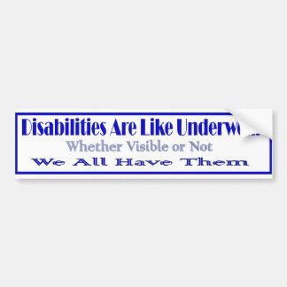 Disabilities r like car bumper sticker