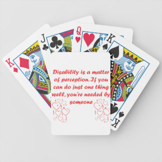 Disability is a matter of perception! bicycle playing cards