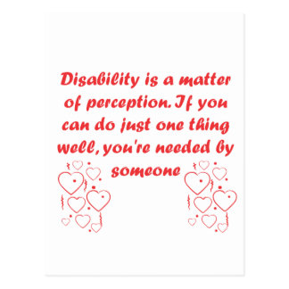 Disability is a matter of perception! postcard