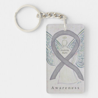 Disability Rights Angel Awareness Ribbon Keychain