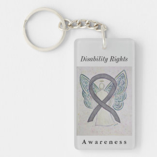 Disability Rights Awareness Ribbon Angel Keychain