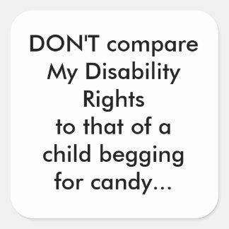 DIsability rights Square Sticker