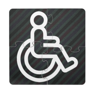 Disability Signs Graphic Puzzle Coaster