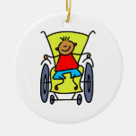Disabled Boy Double-Sided Ceramic Round Christmas Ornament