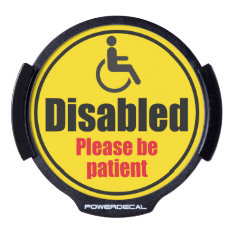 """""""Disabled driver"""" yellow car traffic warning sign, LED Window Decal at Zazzle"""