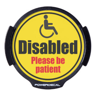"""Disabled driver"" yellow car traffic warning sign, LED Window Decal"