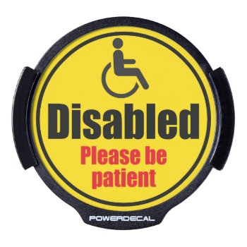 """""""disabled Driver"""" Yellow Car Traffic Warning Sign  Led Window Decal by RWdesigning at Zazzle"""