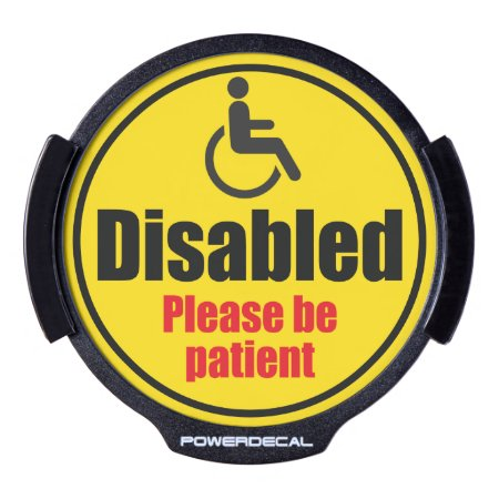 """disabled Driver"" Yellow Car Traffic Warning Sign, Led Windo"