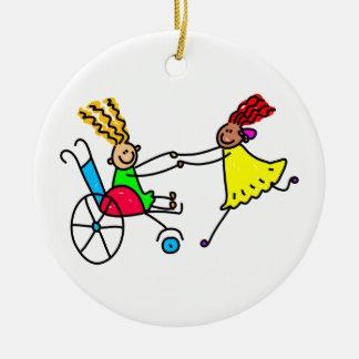 Disabled Friends Ceramic Ornament