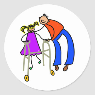 Disabled Girl Classic Round Sticker