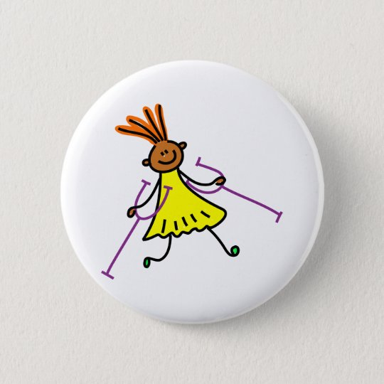 Disabled Girl Pinback Button
