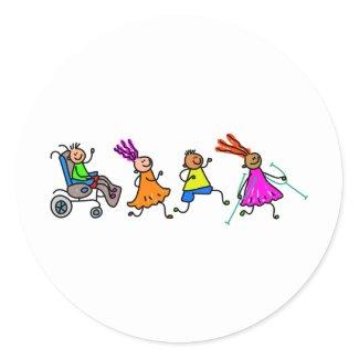 Disabled Kids Classic Round Sticker