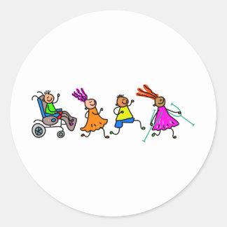 Disabled Kids Round Sticker