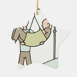 Disabled man lifted by hydraulic lift machine ceramic ornament