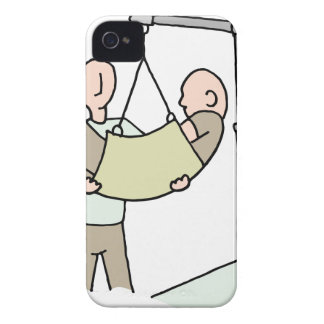Disabled man lifted by hydraulic lift machine iPhone 4 cases