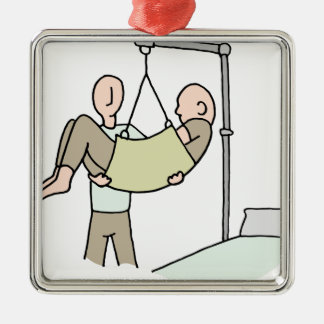 Disabled man lifted by hydraulic lift machine metal ornament