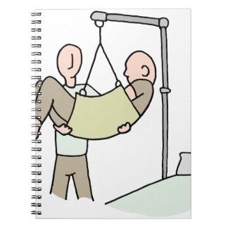 Disabled man lifted by hydraulic lift machine notebook