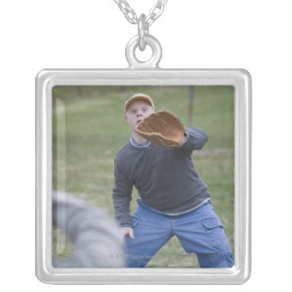 Disabled man playing baseball with his son square pendant necklace