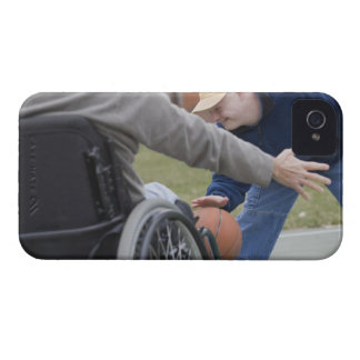 Disabled man playing basketball with his son iPhone 4 cover