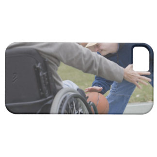 Disabled man playing basketball with his son iPhone SE/5/5s case