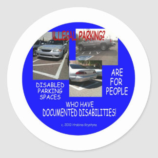 DISABLED PARKING 8 CLASSIC ROUND STICKER
