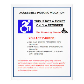 Disabled Parking Space Warning Flyer