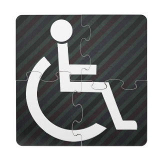 Disabled Persons Graphic Puzzle Coaster