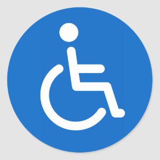 Disabled sign or handicapped symbol blue and white classic round sticker