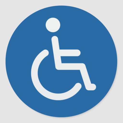 Disabled sign or handicapped symbol blue and white sticker