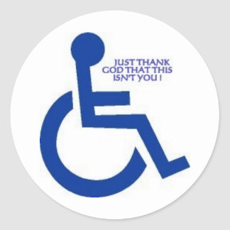 disabled sign classic round sticker