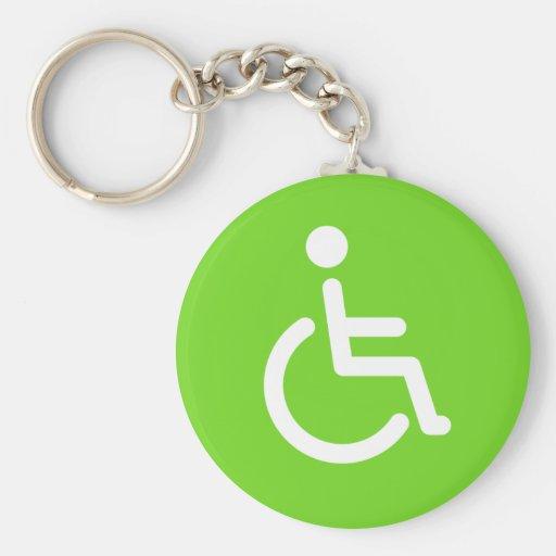 Disabled symbol basic round button keychain