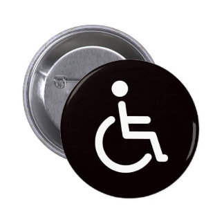 Disabled symbol or black and white handicap sign 2 inch round button