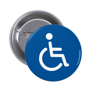 Disabled symbol or blue and white handicap sign button