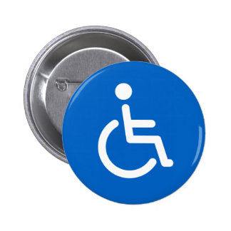 Disabled symbol or blue and white handicap sign pinback button
