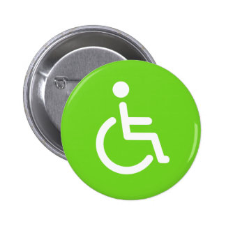 Disabled symbol or green and white handicap sign pinback button