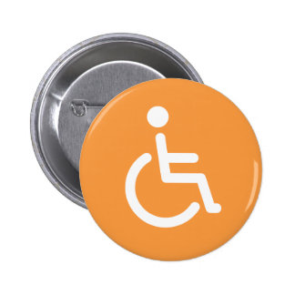 Disabled symbol or orange and white handicap sign button