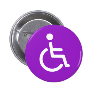 Disabled symbol or purple and white handicap sign pinback button