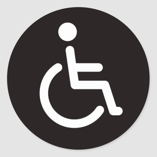 Disabled symbol round stickers