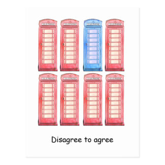 Disagree to agree - red and blue phone booth postcard