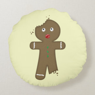 Disappearing Gingerbread Man Round Pillow
