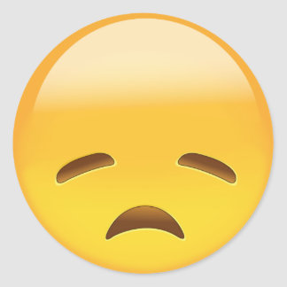 Disappointed Face Emoji Classic Round Sticker