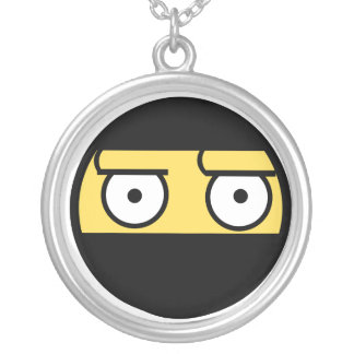 Disapproval Ninja Face Round Pendant Necklace